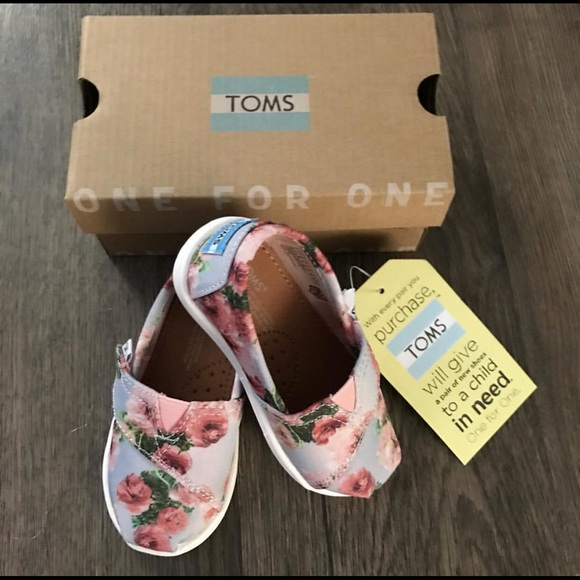 2e4635157 Toms Shoes | Pink Graphic Floral Tiny Classic Sz 5 Toddler | Poshmark